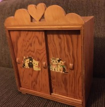"""VINTAGE SOLID WOODEN DOLL ARMOIRE, FOR 18"""" DOLLS. - $23.33"""