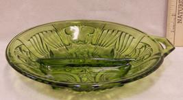 Vintage Green Glass Divided Round Relish Tray Dish Bowl 1 Handle Paisley... - $9.89