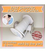 """White 1/4"""" Thin Flat Braided Elastic For Face Mask, Crafts - Sold by the... - $0.99"""