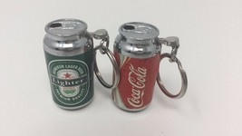 Random Mini Cola/ Beer Lighter Refillable Butane Gas Pocket Keychain - 2 pcs image 1