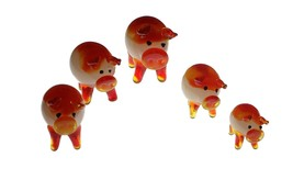 Wu Handmade Crystal Glass Orange White Color Family of Five Pigs - $3.59