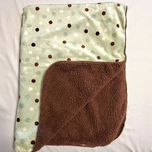 EUC Koala Baby Polka Dot Sherpa Plush Baby Blanket Brown Green 2010 30x38  - $34.64