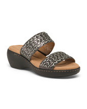 Easy Spirit Wide Woven Leather Women's Comfort Sandals SIZE-8W BLACK/MULTI New - $81.15 CAD