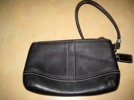 AUTH COACH Black Leather Top Zip Wristlet Pouch - $25.74