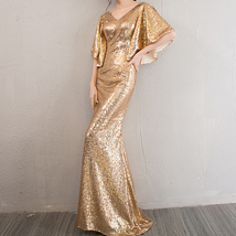 Sexy Golden Bat Sleeve Maxi Long Sequin Dresses Fitted Sequined Cocktail Dress image 2