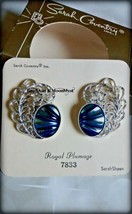 Sarah Coventry Royal Plumage clip earrings silver filigree w blue sheen EC in bx - $10.84