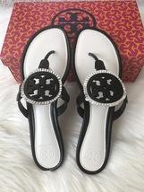 Size 8.5M NIB Tory Burch MILLER Fringe Flat Leather Logo Sandals - $189.00