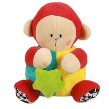 Brown Monkey Toddler Shaking Plush Toys Cute Baby Stuffed Animals Infant Toys