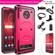 For Motorola Moto Z3/Z3 Play Hybrid Phone Case + Tempered Glass With Acc... - $26.00