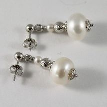 925 silver earrings with white pearls freshwater and faceted balls image 3
