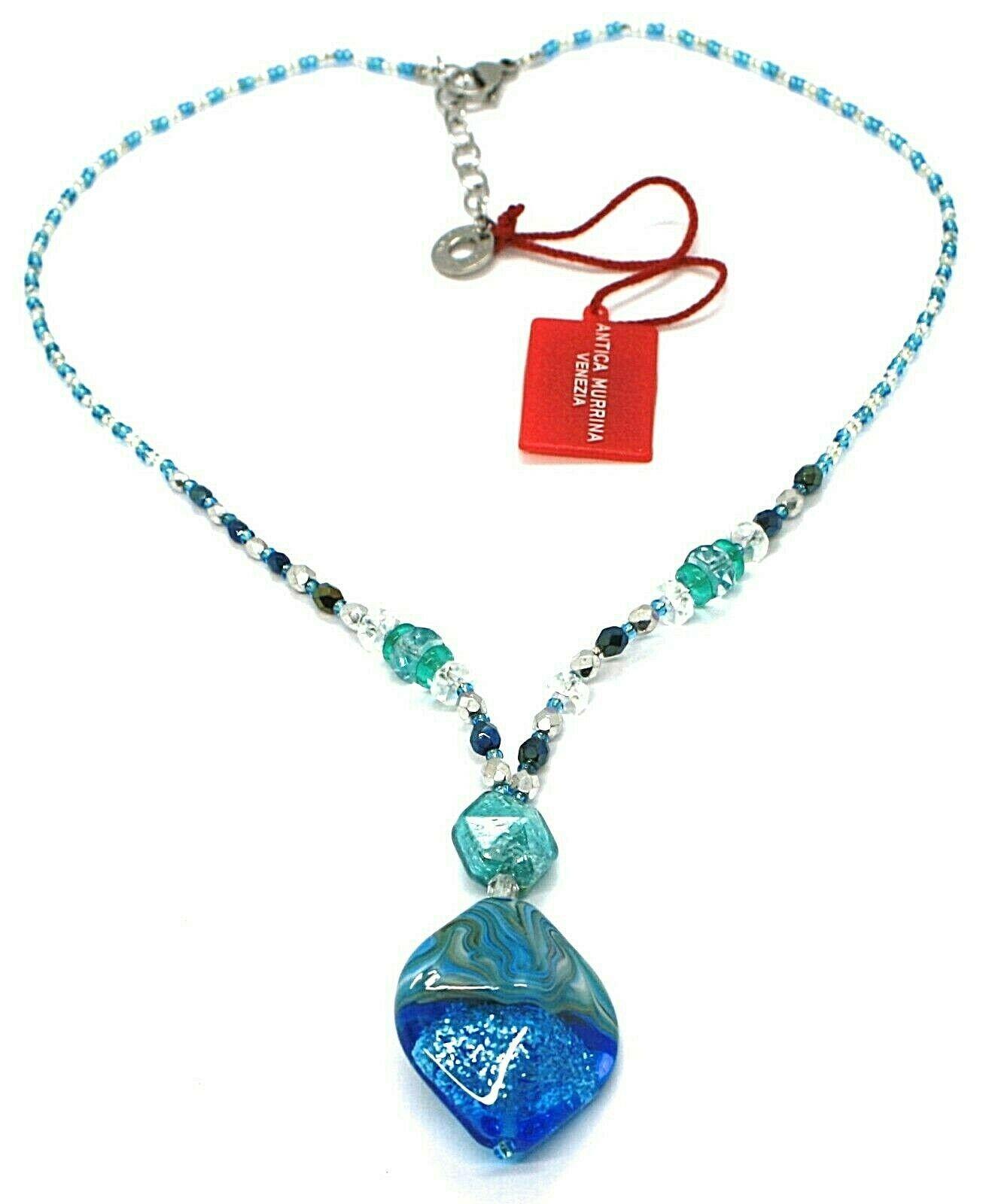 Necklace Antica Murrina Venezia, 45 cm, CO863A07, Pendant Blue Glitter Stripe