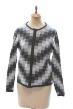 Talbots Womens Chevron Pattern Wool Blend Zip Front Sweater Jacket Made Italy M image 1