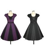 Polkadot Black Rockabilly Retro 1950s Swing Dress Vintage 50s Pin Up Party - $57.51