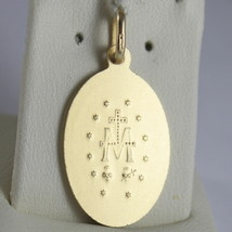 SOLID 18K YELLOW GOLD MIRACULOUS MEDAL, VIRGIN MARY, MADONNA, 1.10 MADE IN ITALY image 2