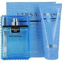 Versace Man Eau Fraiche 3.3 Oz Spray + 3.3 Oz Shower Gel 2 Pcs Gift Set image 1