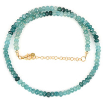 Grandidierite Faceted Rondelle Beads Necklace with 925 Silver Chain Gold... - $88.99