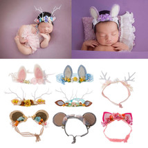Newborn Baby Girls Photography Props Floral Ears Cute Headwear Studio Pr... - $8.00