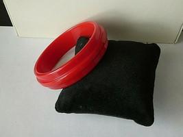 Vintage Red Ribbed Bakelite Bangle Bracelet - $64.35