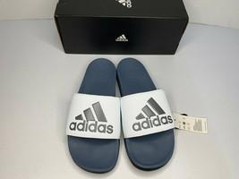 NEW SIZE 10 adidas Men's Adilette Comfort Slide Sandal WHITE BLACK AC841... - $36.62