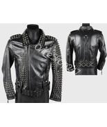 New Mens Unique Punk Full Heavy Metal Spiked Studded Zipper Biker Leather jacket - $329.99 - $399.99