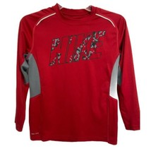 Nike dri-Fit youth boys port tshirt red gray long sleeve size M - $17.16