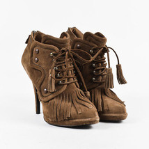 Givenchy Brown Suede Fringe Tassel Lace Up High Heel Booties SZ 38 - $130.00