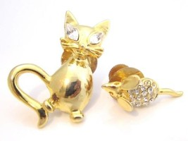 Charming Gold Plated Cat & Mouse Rhinestone Scatter Vintage Signed Tie P... - $17.32