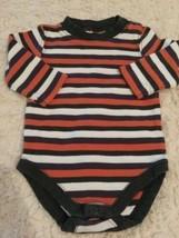 Gymboree Boys Orange White Brown Striped Long Sleeve One Piece 0-3 Months - $3.00