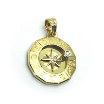 18K YELLOW GOLD ZODIAC SIGN ROUND 22mm DIAMOND PENDANT WIND COMPASS ZODIACAL image 2