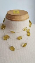 "15-17"" YELLOW CRYSTAL 3 STRAND STEEL WIRE CHOKER NECKLACE, .75""FACETED B... - $4.94"