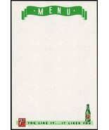 Vintage menu 7UP You Like It It Likes You bubble girl bottle pictured n-... - $7.19