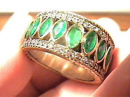 Emerald BAND STERLING SILVER 925 YELLOW GOLD RING 10 CLASSY NATURAL old ... - £53.20 GBP