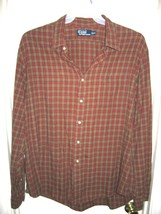 Polo Ralph Lauren Red Brown Plaid Button Front Long Sleeve Pocket XXL Vi... - $29.39