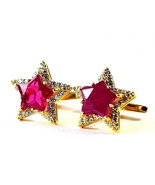 925 Sterling Silver Natural Fine Quality Ruby And Cz Gemstone Star Shape... - $299.99