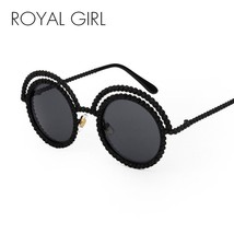Sunglasses Pearl Metal Round Unique Frame For Women - £22.57 GBP