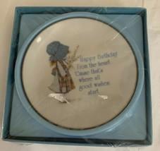 """Vintage Holly Hobbie Happy Birthday Plate New Sealed 1976 American Greetings 4"""" - $14.99"""