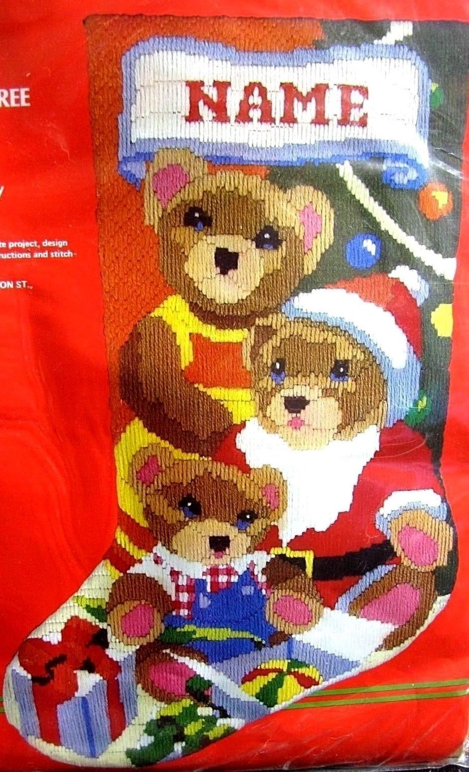 Primary image for Horizons Santa Teddy Bear Baby Makes Three Longstitch Needlepoint Stocking Kit E