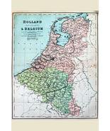 sy'decorative Holland and Belgium 19th Century Antique Style Map Poster ... - $19.78