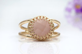 gold ring,pink chalcedony ring,stone ring,stackable ring,stacking ring - $45.00+
