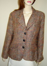 COLDWATER CREEK Multi-Color Beige Woven Tweed Acrylic Blend Cuffed Jacke... - $29.30