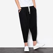 2018 New Summers Linen Pants Men Casual Ankle-Length Harem Pants Solid Linen Cot image 3