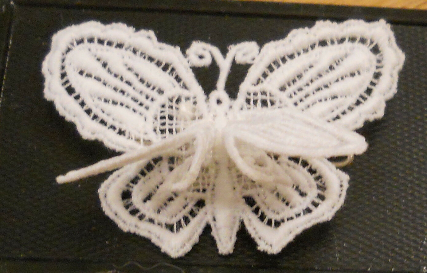 Primary image for Regence Belgian Lace Butterfly Pin Original Box Bruxelles 3D Wings True VTG