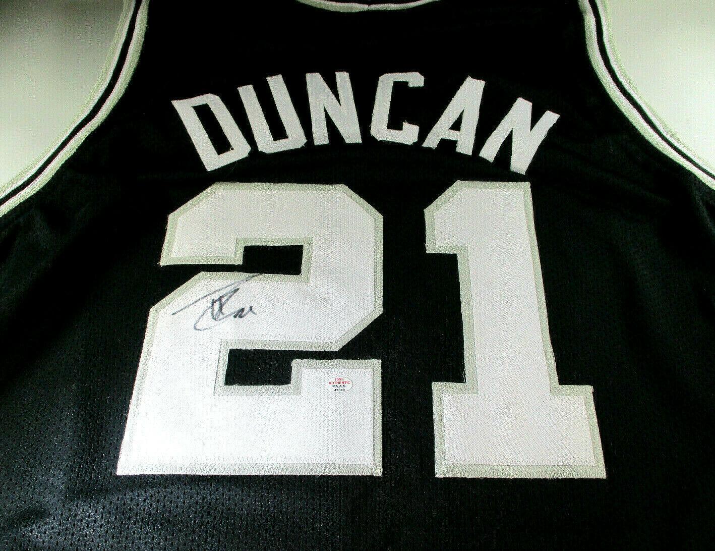 TIM DUNCAN / 15 X NBA ALL-STAR / AUTOGRAPHED SAN ANTONIO SPURS CUSTOM JERSEY COA