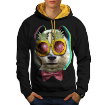 Panda Space Glasses Funny Sweatshirt Hoody Tropic Bear Men Contrast Hoodie - $23.99+