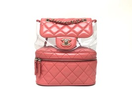 100% AUTHENTIC CHANEL 2018/2019 PINK PVC QUILTED CALFSKIN BACKPACK SHW image 1