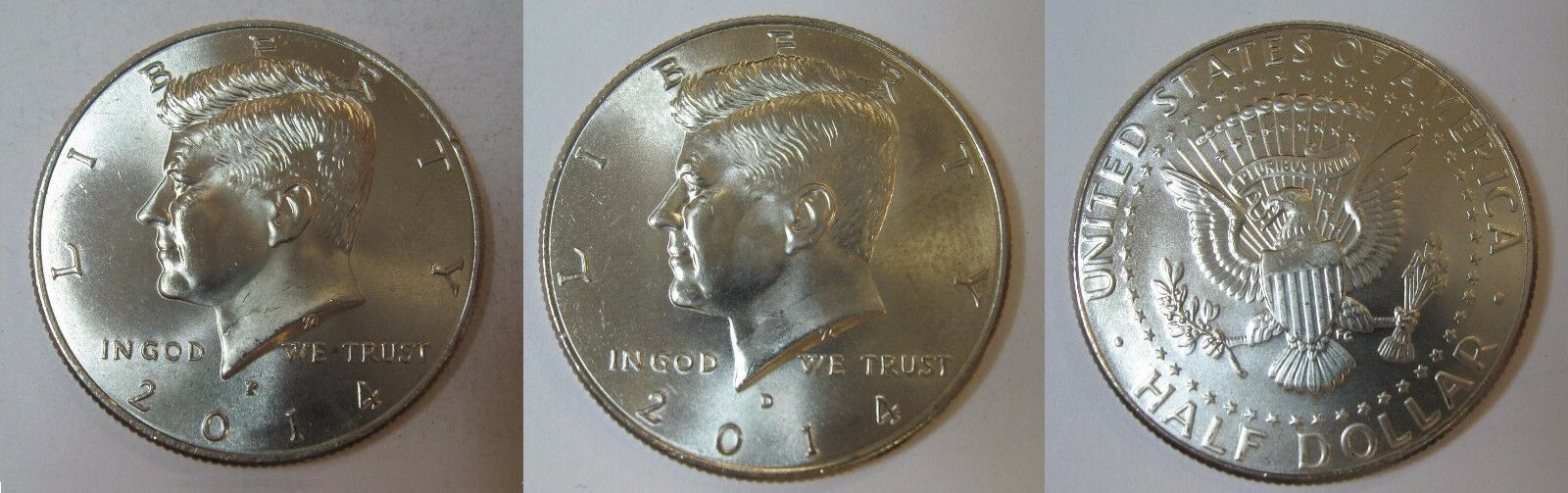 2014 P and D  BU Kennedy Half Dollar from US Mint Roll CP2442
