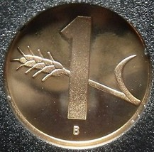 Switzerland 1986 Rappen Rare Proof~Only 10,000 Minted~Oat Sprig~Cross~Fr... - $7.09