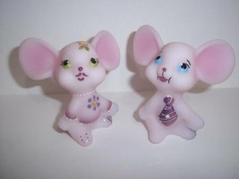 Fenton Glass Pink Church Mouse Pair Bling Accent  #5/10 Ltd Ed GSE J K S... - $290.52