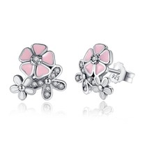 925 Sterling Silver Poetic Daisy Cherry Blossom Drop Earrings Mixed & Clear CZ P - $20.02