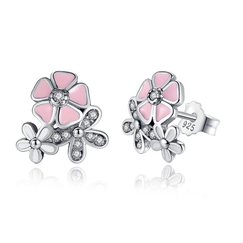 Primary image for 925 Sterling Silver Poetic Daisy Cherry Blossom Drop Earrings Mixed & Clear CZ P